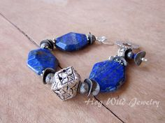 Chunky Lapis Sterling Silver Bracelet Women's by hogwildjewelry