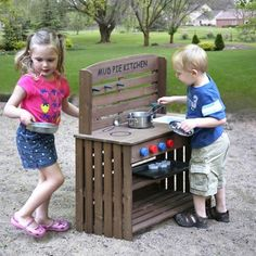Badger Basket Outdoor Chef Mud Pie Kitchen with Cooking Accessories - Slime, snails, and (pretend) puppy dog tails . these might be the first few ingredients in the next dish your little one cooks up with the B. Childrens Play Kitchen, Play Kitchen Sets, Mud Pie Kitchen, Wood Furniture, Kids Boys, Kids Playing, Playroom, Basket, Backyard