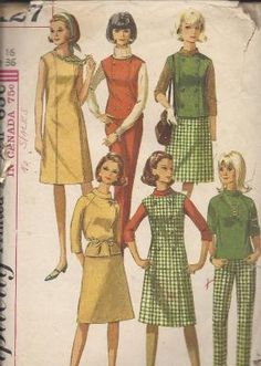 a906a7d8e6 Vintage Simplicity s Mad Men Color Block Dress Jumper Top Skirt   Slacks  Uncut Pattern 6127 Size 14 Bust 34 circa 1965 by EvaStAlbans on Etsy