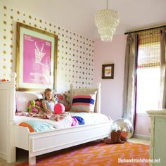DIY daybed + love the poster, window treatments, and disco ball. OK, everything.