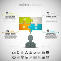 Vector illustration of business infographic made of speech bubble and businessman. 22 icons inside file. ZIP includes free font li