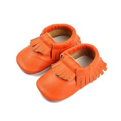 orange baby mocs Native American Dress, Baby Moccasins, Unisex, Leather Shoes, Kids Fashion, Baby Shoes, Trending Outfits, Unique Jewelry, Orange