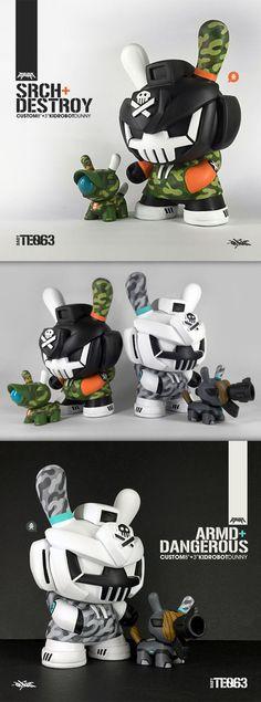 """SRCH  Destroy"" & ""ARMD  Dangerous"" custom Kidrobot Dunny sets by Quiccs!"
