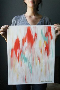 16x20 Abstract Ikat-inspired Painting on Unstretched Canvas. Red, Pink, Yellow and Turquoise.