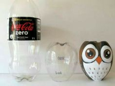 Make your own owl of a plastic cola bottle! Maak je eigen uil van een plastic cola fles!