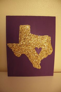 Texas State Canvas Glitter Made to order by AbiMariah on Etsy, $15.00