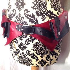 Revival - Corseted Pocket Belt in Red and Black, size small/medium
