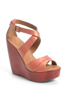 Pink! Kork-Ease wedge sandal for Spring.
