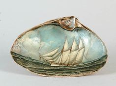 miniature oil painting of ship on the ocean inside a shell (seashore, beach, art) Seashell Painting, Seashell Art, Seashell Crafts, Beach Crafts, Painting On Shells, Stone Painting, Objets Antiques, Painted Shells, Oyster Shells