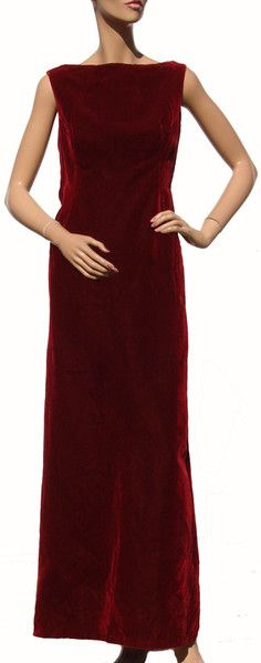 Red velvet 1960s Christian Dior evening gown.