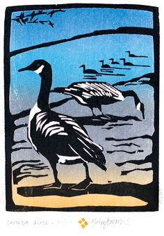 Canada Geese - Woodblock by Betsy Bowen