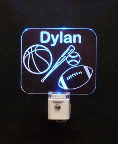 """Personalized #sports #LED #Nightlight 3/8"""" Engraved Clear Acrylic #uniqueledproducts #cleveland"""