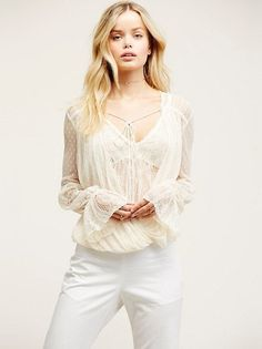 NWT FREE PEOPLE Far Away Lace Top Ivory - $98 #FreePeople #Blouse #EveningOccasion
