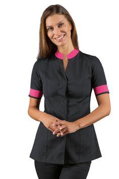 Acheter cette tunique esthéticienne manches courtes noire et rose avec col Maode ISACCO, vendue sur la boutique mylookpro.com dans la catégorie blouses et tuniques esthéticienne. Confortable, jolie et féminine, elle est idéale pour les métiers de l'esthétique ou en spa.