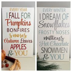 Reversible Fall Sign - Reversible Christmas Sign - Christmas Sign - Winter Sign - Fall Sign - Holiday Decoration - Holiday Decor by EastCoastChicagoan on Etsy https://www.etsy.com/listing/481305659/reversible-fall-sign-reversible