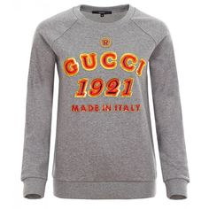 Gucci Grey Embroidered Logo Motif Jumper ($495) ❤ liked on Polyvore featuring tops, sweaters, gucci, shirts, jumpers, gray top, cotton shirts, cotton logo shirts, gucci tops and gray jumper