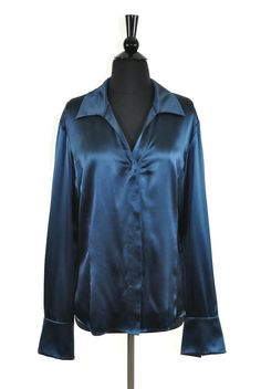 Lafayette 148 New York Teal Blue Silk Longsleeve Button Front Blouse Size 14. Available at Luxury Fashion Vault on Tradesy!