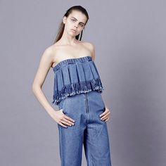 @vale_denim FRAY CULOTTES/ STRAPLESS TOP