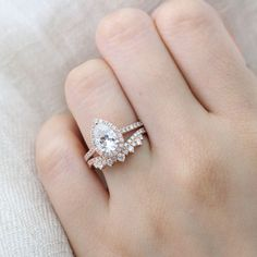 Beautifully Crafted Pear Morganite Engagement Ring in Rose Gold Vintage Halo Diamond Band