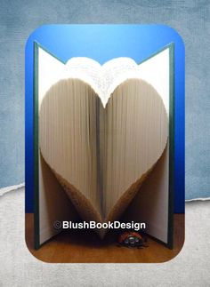 Simple Heart Book Folding Pattern by BlushBookDesign on Etsy Pattern Cutting, Pattern Art, Roses Book, Butterfly Books, Unique Christmas Decorations, Hearts And Roses, Book Folding Patterns, Folded Book Art, Any Book