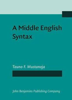 A Middle English Syntax: Parts Of Speech PDF