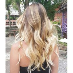 Platinum blonde balayage long hair