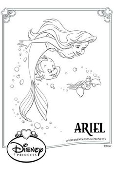 Ariel Swimming Colouring Page