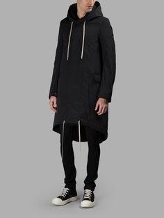 RICK OWENS DRKSHDW Rick Owens Drk Shdw Men'S Black Fishtail Parka. #rickowensdrkshdw #cloth #coats