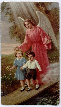 When I was a kid I really believed that this was me and my brother.     Guardian Angel Catholic Holy Card