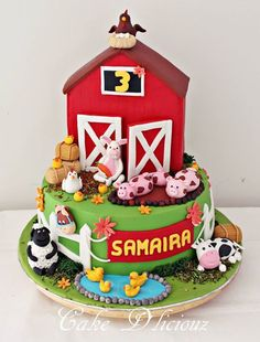 Top tier (the Barn) is Chocolate Marble cake. Farm Birthday Cakes, Animal Birthday Cakes, Farm Animal Birthday, 2nd Birthday, Barnyard Cake, Barnyard Party, Farm Party, Farm Animal Cakes, Farm Animal Party