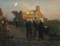 Jules Breton  FRENCH 1827-1906 LE SOIR DANS LES HAMEAUX DU FINISTÈRE