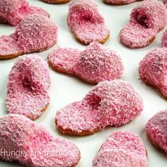 Nice for sleepovers. Pink coconut cookie slippers. I'm sure you can do different colours too!