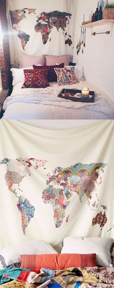 Patchwork World Map Tapestry http://seattlestravelshop.com/shop/patchwork-world-map-tapestry/