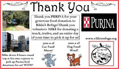 Thank you PURINA for your generous donation of 5000 pounds of cat food and 2000 pounds of dog food to Rikki's Refuge! Thank you VOLUNTEER MIKE for making sure it was delivered to us! Hooray Purina! Hooray Mike! LIKE and SHARE! This is WONDERFUL!  www.rikkisrefuge.org