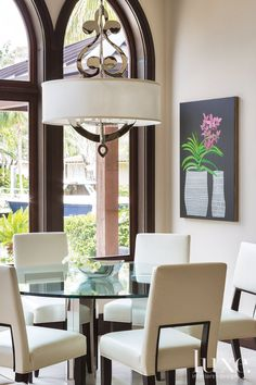 Modern Breakfast Nook with Glass Table