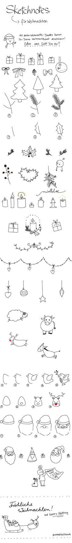 Sketchnotes und Doodles zu Weihnachten: Geschenke, Tannenbäume, Weihnachtsmänner, Girlanden und Tiere