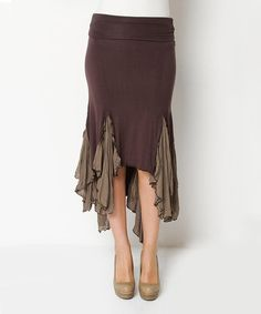Take a look at the Brown Nancy Handkerchief Hem Skirt on #zulily today! Love this look❤️