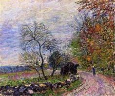 Along the woods in Autumn - Alfred Sisley