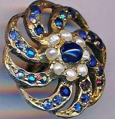 Button--Medium. Late Georgian. Sapphire Blue Pastes  & Pearls in Gilded Silver Spiral.