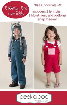 The Lullaby Line Overalls feature classic styling and a comfy, loose fit. Sew them up in a cozy knit or a fun woven.