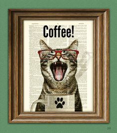 CollageOrama Caffeine Cat Has a Case of the Mondays Coffee Cup Cat Altered Art Dictionary Page Illustration Book Print Crazy Cat Lady, Crazy Cats, Le Cri, Monday Coffee, Kinds Of Cats, Cat Posters, Cat Wall, Cat Quotes, Illustrations