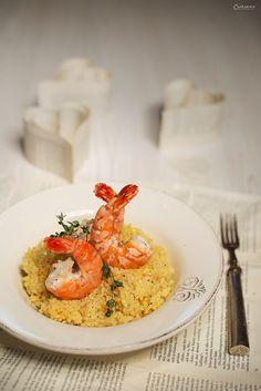 Risotto mit Garnelen. Champagner Risotto, Prosecco Risotto. Valentinstag, Gericht für Valentinstag. Champagne risotto recipe, risotto.