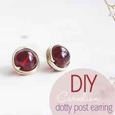 DIY Carnelian Dotty Post Earring
