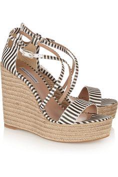 Tabitha Simmons Jenny striped silk espadrille wedge sandals €375