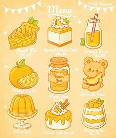Cute Food Drawings, Cute Kawaii Drawings, Cute Animal Drawings, Griffonnages Kawaii, Arte Do Kawaii, Cute Doodles, Kawaii Doodles, Arte Copic, Cute Food Art