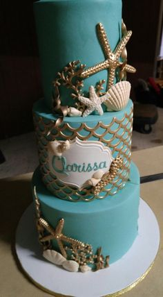 Mermaid theme cake Under the sea cake Ocean Cakes, Beach Cakes, Sirenita Cake, Cupcake Cakes, Cupcakes, Quince Cakes, Quinceanera Cakes, Nautical Cake, Mermaid Baby Showers