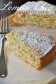 Lemon Chia Breakfast Cake: delicious, moist lemon coffee cake with chia seeds! perfect for brunch #lemon #chiaseeds