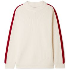 Burberry Iowa oversized striped wool and cashmere-blend sweater ($980) ❤ liked on Polyvore featuring tops, sweaters, burberry, rib, stripe, ivory, striped sweater, burberry sweater, woolen sweater and white cable knit sweater