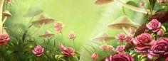 Flowers Mushrooms Roses Artwork Facebook Covers