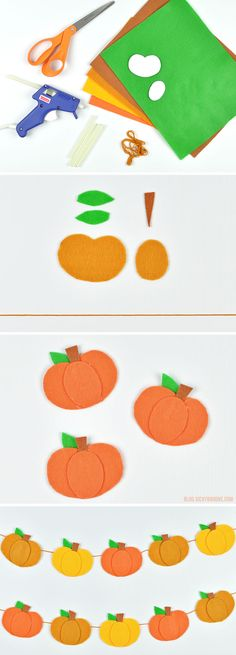 No-Sew Felt Pumpkin Garland - Halloween Autumn Crafts, Thanksgiving Crafts, Holiday Crafts, Holiday Fun, Fall Felt Crafts, Harvest Crafts, Fall Garland, Diy Garland, Halloween Ornaments